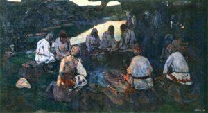 Картина Николая Рериха «Сходятся старцы», 1898 г.