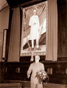 Святослав Николаевич Рерих на церемонии открытия портрета Дж.Неру в Центральном зале парламента Индии. Дели, 5 мая 1966