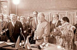 Церемония вручения Святославу Николаевичу Рериху диплома Почетного члена АХ СССР. Москва, 7 июня 1978