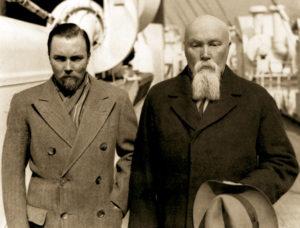 Юрий Рерих вместе с отцом Николаем Константиновичем Рерихом