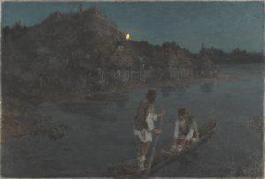 """Картина Николая Рериха «Гонец» """"Восста(л) род на род"""", 1897 г."""