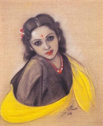 Картина Святослава Рериха. «Девика Рани Рерих». 1946