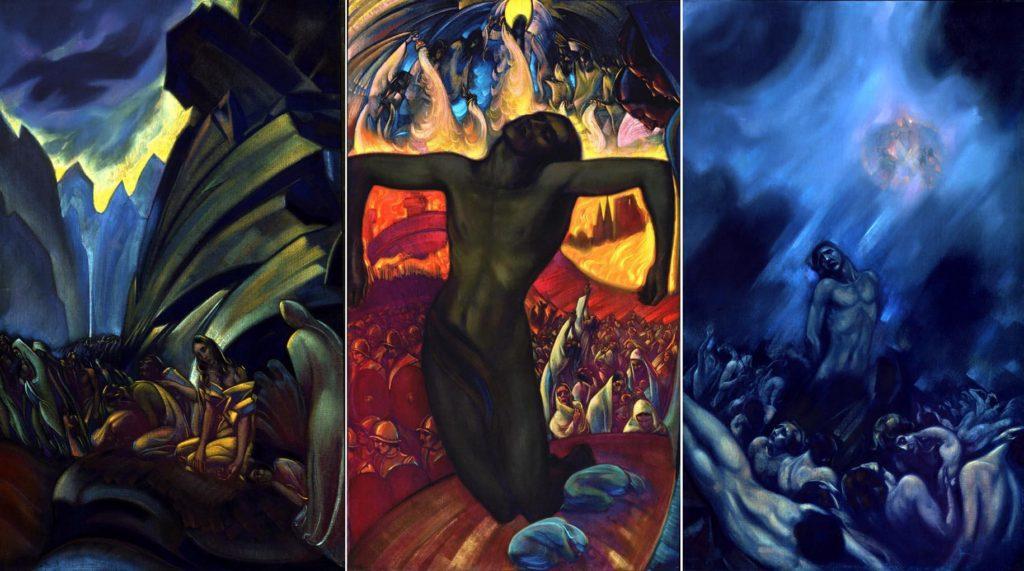 Картина Святослава Рериха. «Распятое человечество (Триптих)». 1939-1942