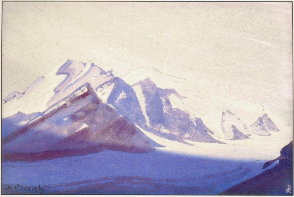 Картина Н.К.Рериха. Вечер. Гималаи. 1937