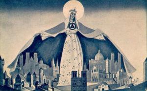 Картина Н.К.Рериха, Мадонна Защитница (Святая Покровительница).  1933