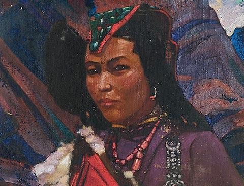 Картина С.Н.Рериха. Женщина. Этюд 1930-е