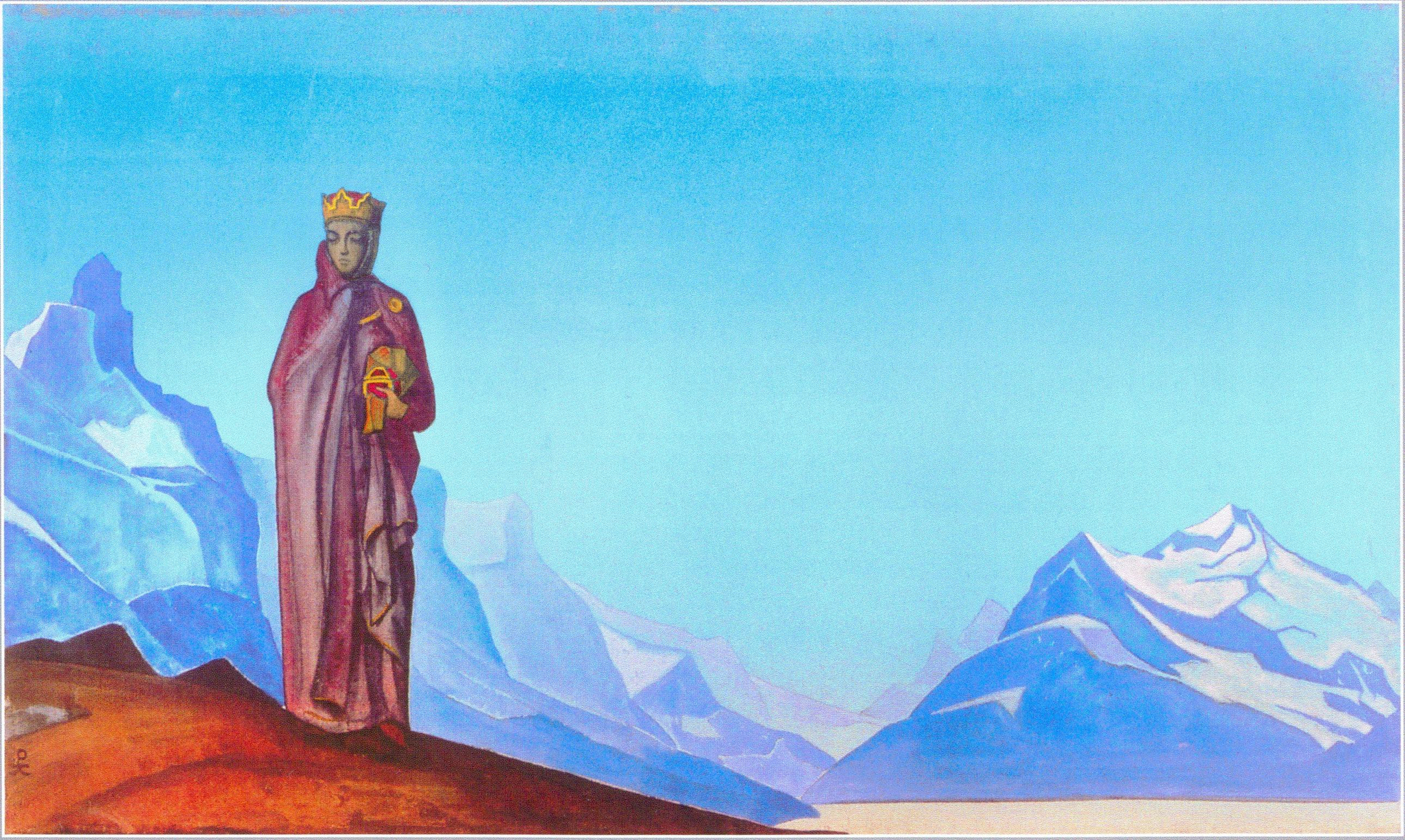 Картина Н.К.Рериха.  Камень несущая (Держательница Мира). 1933