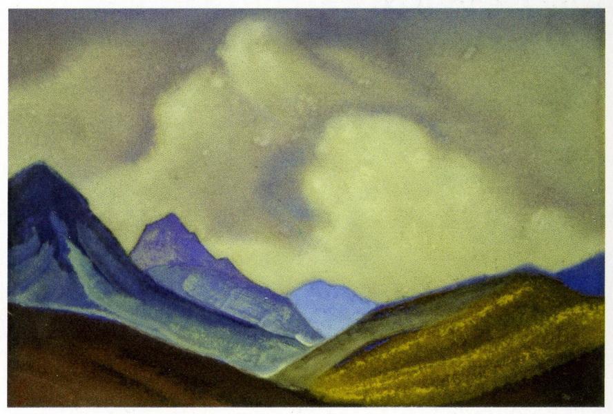 Картина Н.К.Рериха. Монголия. [Горные склоны на фоне облаков] 1944